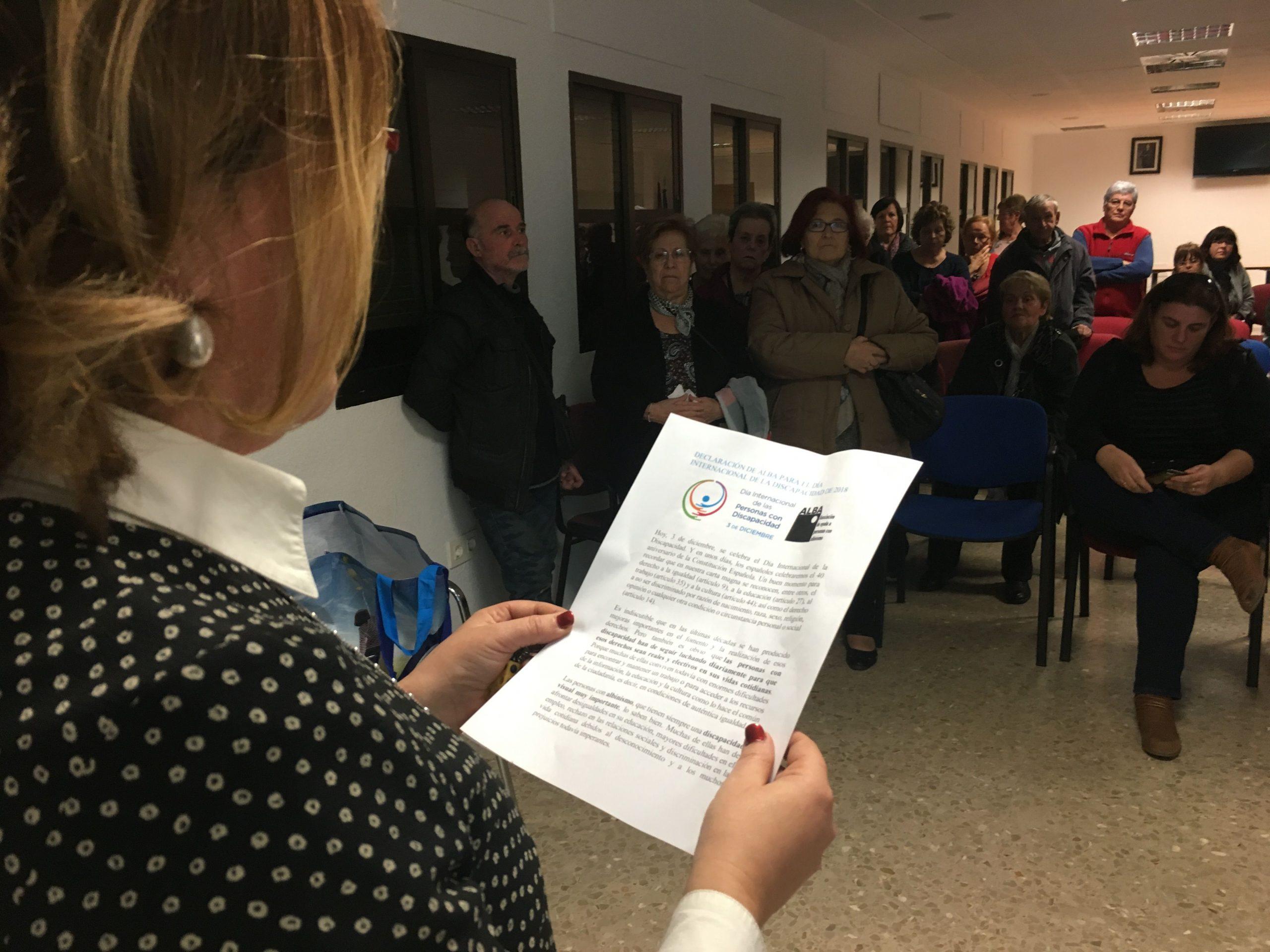 Momento de la Lectura del Manifiesto Dia de las personas con discapacidad 2018